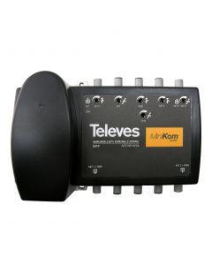 AMPLIFICADOR MINIKOM DOBLE TRONCAL 2E/2S (RET+MATV+2FI) CONECTOR F (5-30/47-862/950-2150Mhz) 5317146 TELEVES