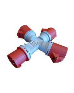 ADAPTADOR INDUSTRIAL MULTIPLE 3 SALIDAS 32A 380V 3P+T IP44 6403034 FNX