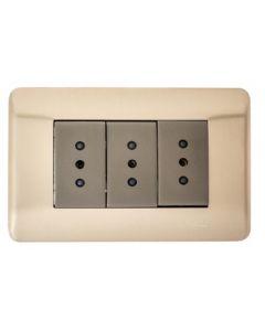 PLACA ARMADA IRIDIUM HABIT 21 CON TOMA CORRIENTE TRIPLE 10A - BRONCE 703262 SCHNEIDER ELECTRIC