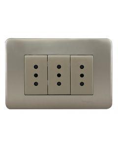 PLACA ARMADA IRIDIUM HABIT 21 CON TOMA CORRIENTE TRIPLE 10A - CHAMPAGNE 706262 SCHNEIDER ELECTRIC